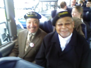 The vets, both of them very happy to be on the bus.