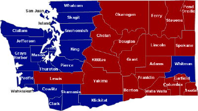 2008 WA electoral map, Obama vs. McCain