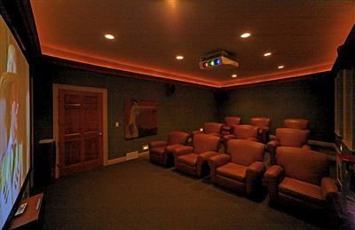 The theater has sound proofing construction, 10 barcolounger theater seats, HD receiver and surround sound. In fact, the whole house is wired with hidden speakers.
