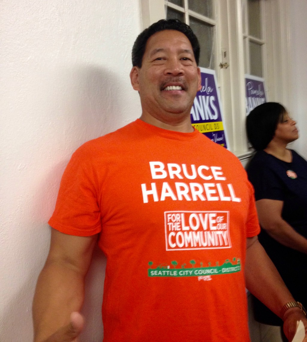 Seattle City Council member Bruce Harrell was look awfully pleased with himself at last week's 37th LD Dems endorsement meeting.