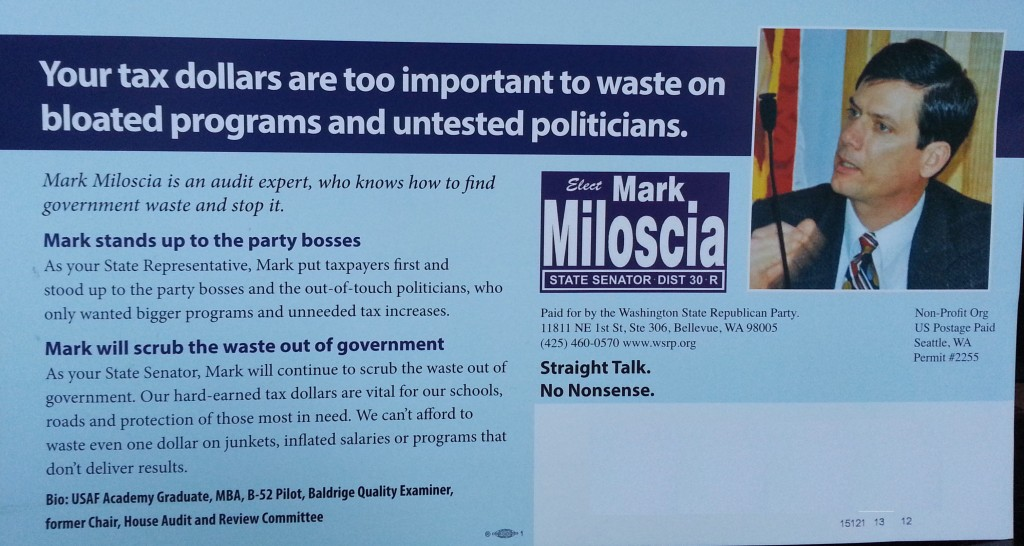 """Mark Miloscia stands up to party bosses!"" (Paid for by Party Bosses)"
