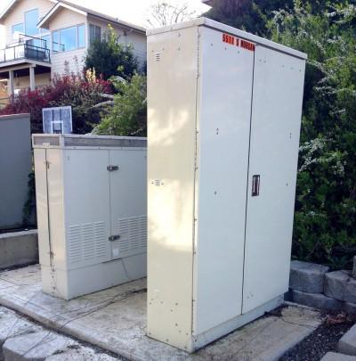 Refrigerator-sized utility cabinets