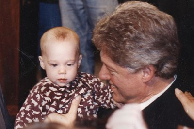 My niece Ariel being clutched by President Clinton
