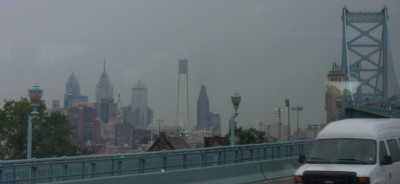 Approaching Philadelphia via the Ben Franklin Bridge, as viewed from the (gasp) Bus.