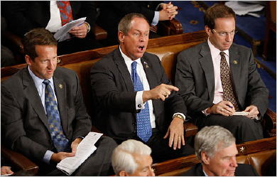 Rep. Joe Wilson heckles President Obama as Rep. Dave Reichert looks on