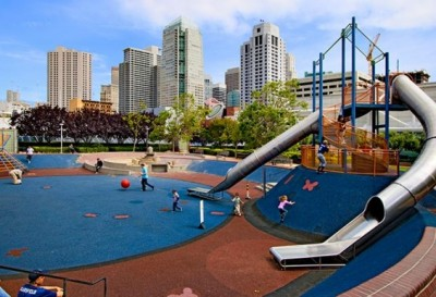 Think I'm thinking too big? Yerba Gardens features 130,000 sq ft of outdoor space, including a playground, amphitheater, carousel, skating rink and water feature... all on a rooftop in San Francisco.